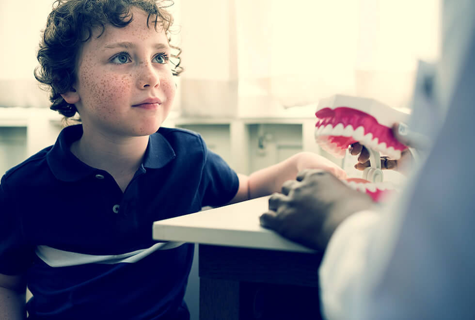 Small boy with red curly hair and freckles, sits looking at dentist, who holds a plastic model of teeth and wears a white lab coat